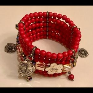 Wide Red Beaded Stretchable Bracelet Brand New